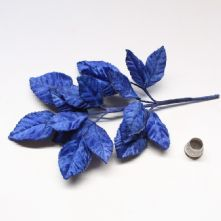 Vintage Royal Blue Velvet Rose Leaves